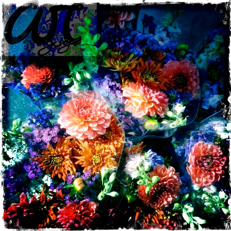 vibrant farmers market flowers.