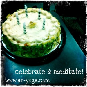 celebrate & meditate birthday cake